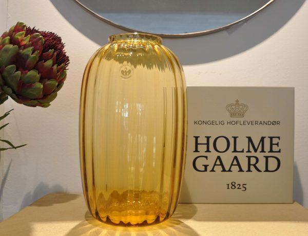 Holme Gaard Glasvase geschliffen gelb